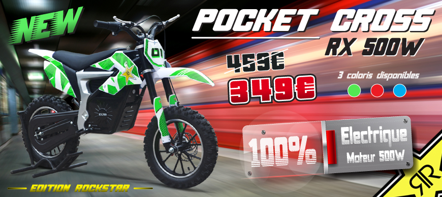Pocket Bike Pas Cher - Pocket Cross RX 500W ROCKSTAR