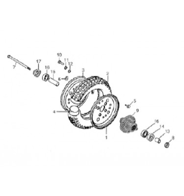 N°7 - Axe de roue avant (sans écrou)