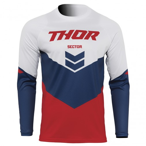 Maillot cross THOR Sector Chev - Enfant - Rouge / Navy