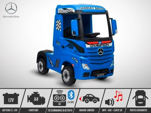 Camion électrique enfant KINGTOYS - Mercedes ACTROS 140W - Bleu