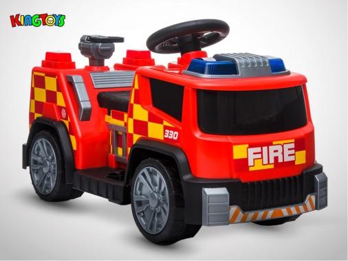 Camion électrique enfant KINGTOYS - Pompier 22W - Rouge