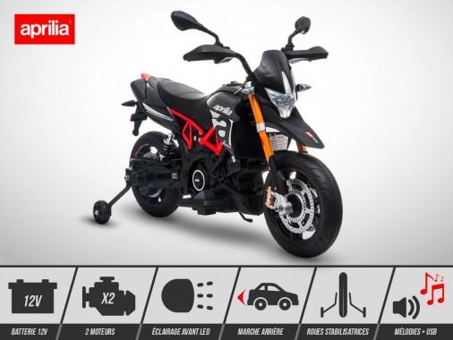 Moto électrique enfant KINGTOYS - APRILIA Dorsoduro 900 36W - Noir