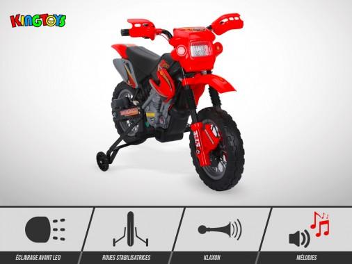 Moto électrique enfant KINGTOYS - Cobra 18W - Rouge