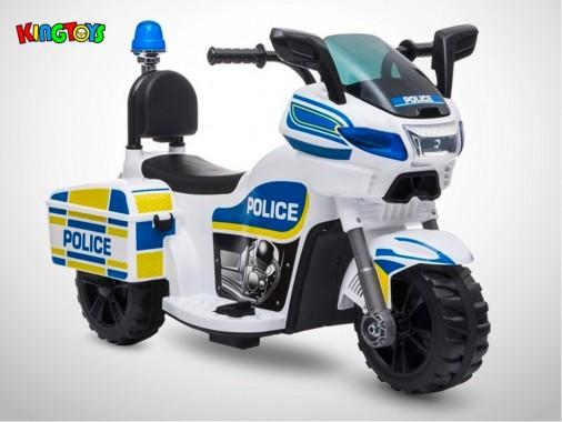Moto électrique enfant KINGTOYS - Police 22W - Blanc
