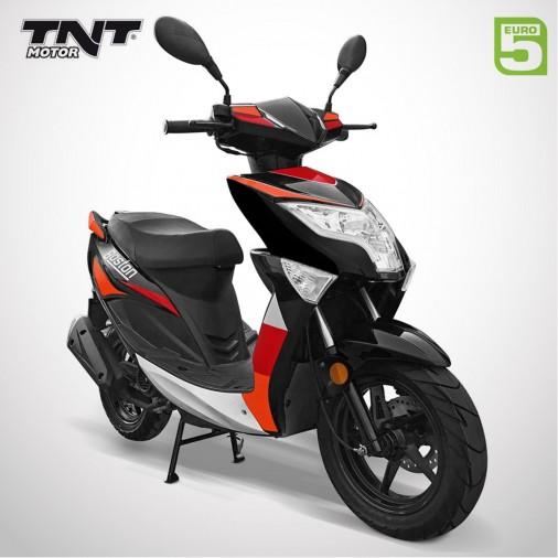 """Scooter 50cc BOSTON 12"""" - 4 Temps - TNT MOTOR - Noir / Rouge"""