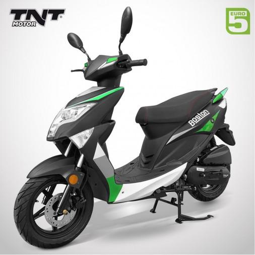 """Scooter 50cc BOSTON 12"""" - 4 Temps - TNT MOTOR - Noir Mat / Vert"""