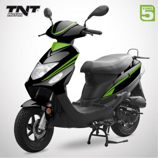 Scooter 50cc ROMA 3 - 4 Temps - TNT MOTOR - Noir Brillant / Vert