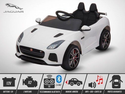 Voiture électrique enfant KINGTOYS - Jaguar F-TYPE SVR 50W - Blanc