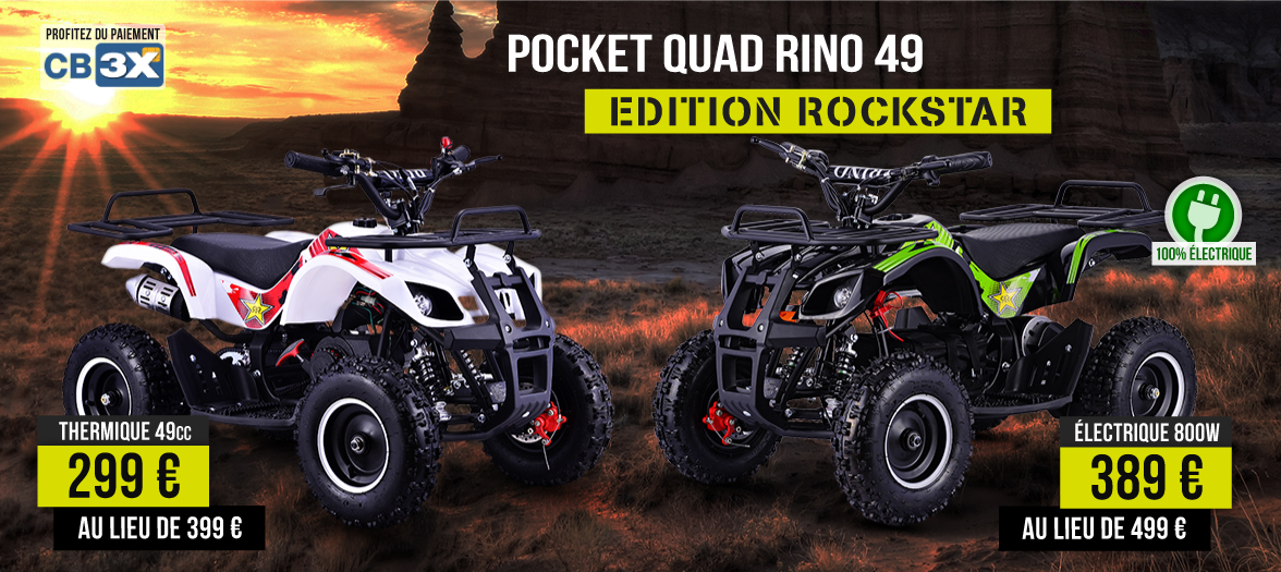 Gamme Pocket Quad RINO 49cc et 800W - Mini Quad Enfant 49 cm3 et 800W