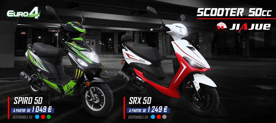 Gamme Scooter 50cc 4Temps JIAJUE SPIRO 50 et SRX 50