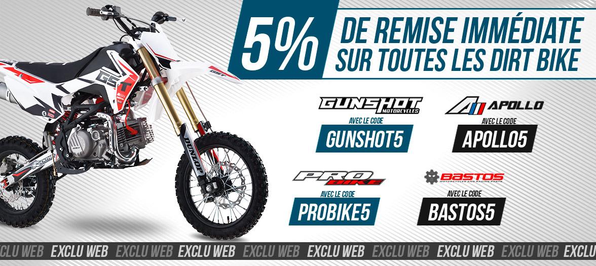 5% de remise sur toutes les Dirt Bike