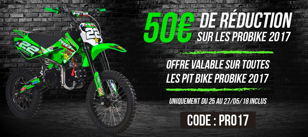 50€ de réduction sur les pit bike 2017